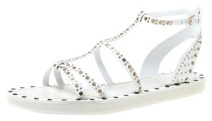 Burberry Studded Leather White Flats