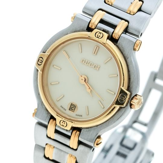 Gucci Cream Two-Tone Stainless Steel 9000L Women's Wristwatch 25 mm Image 5