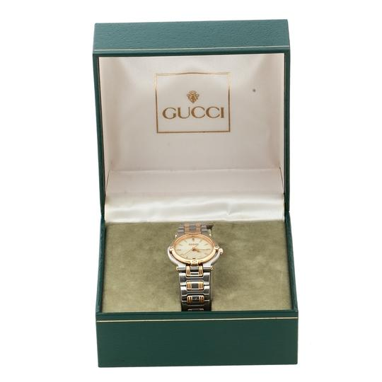Gucci Cream Two-Tone Stainless Steel 9000L Women's Wristwatch 25 mm Image 7