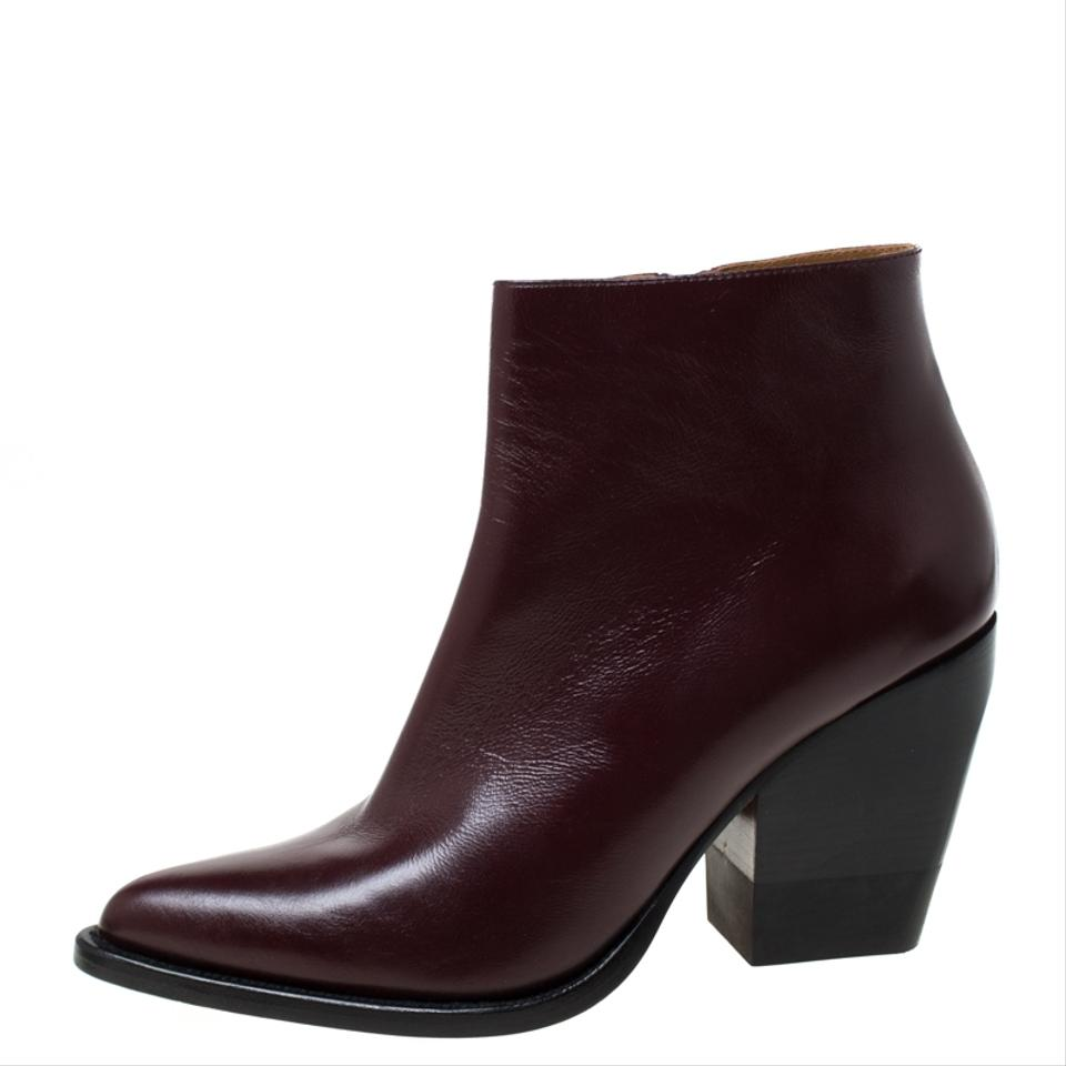 arrives limited guantity save off Chloé Burgundy Leather Rylee Pointed Toe Ankle Boots/Booties Size EU 42  (Approx. US 12) Narrow (Aa, N) 19% off retail