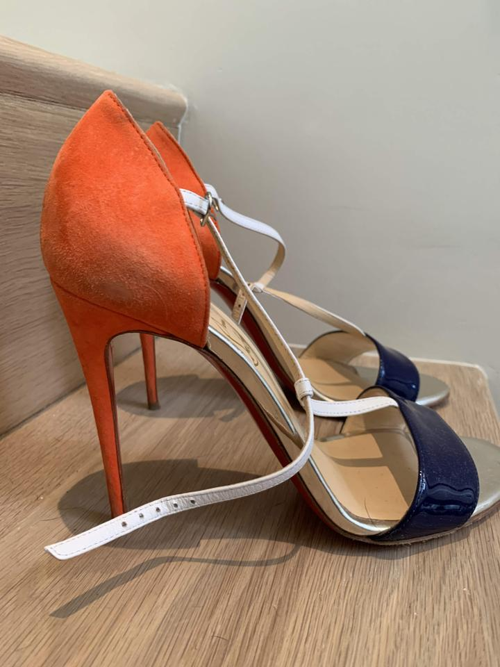 promo code 39f24 042d3 Christian Louboutin Orange and Navy Unknown Formal Shoes Size EU 37.5  (Approx. US 7.5) Regular (M, B)