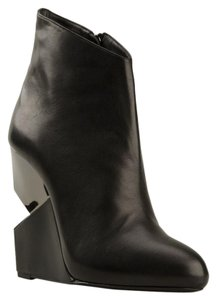 Charline De Luca Wedge Pull-on Leather Elastic Black Boots