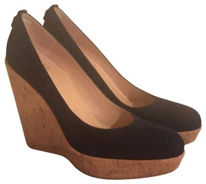 Stuart Weitzman Wedge Suede Pump Leather Navy Platforms