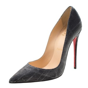 Christian Louboutin Metallic Glitter Pigalle Pointed Toe Grey Pumps