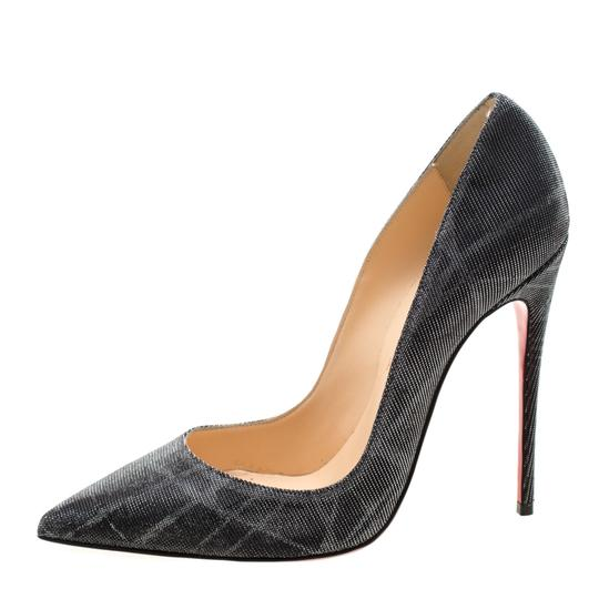 Christian Louboutin Metallic Glitter Pigalle Pointed Toe Grey Pumps Image 1