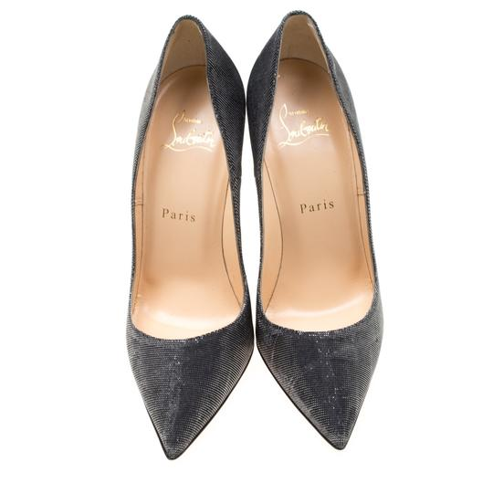 Christian Louboutin Metallic Glitter Pigalle Pointed Toe Grey Pumps Image 2