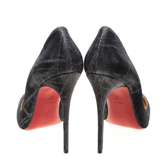 Christian Louboutin Metallic Glitter Pigalle Pointed Toe Grey Pumps Image 3