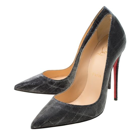 Christian Louboutin Metallic Glitter Pigalle Pointed Toe Grey Pumps Image 4