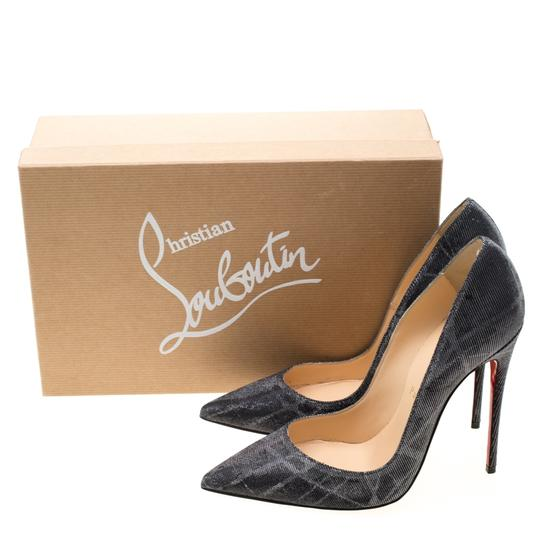 Christian Louboutin Metallic Glitter Pigalle Pointed Toe Grey Pumps Image 7