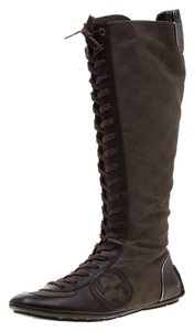 Gucci Leather Canvas Brown Boots