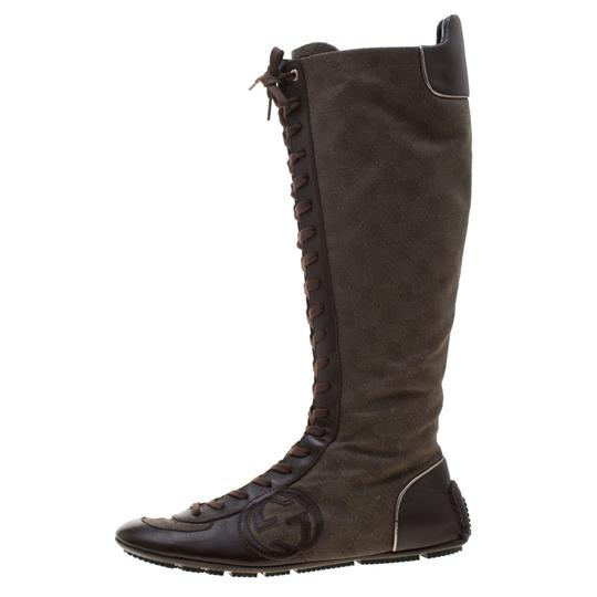 Gucci Leather Canvas Brown Boots Image 1