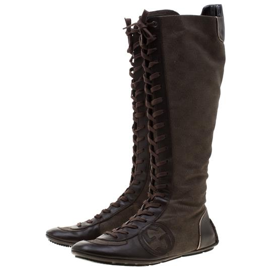 Gucci Leather Canvas Brown Boots Image 3