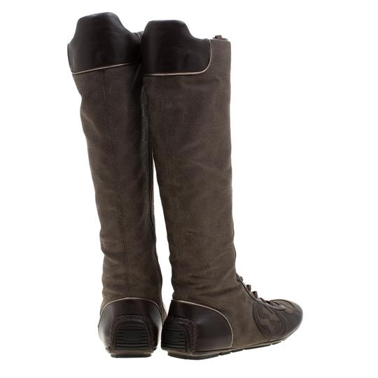 Gucci Leather Canvas Brown Boots Image 4