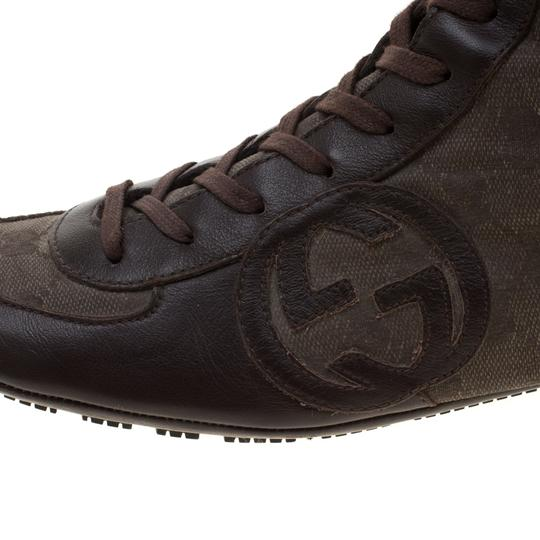 Gucci Leather Canvas Brown Boots Image 6