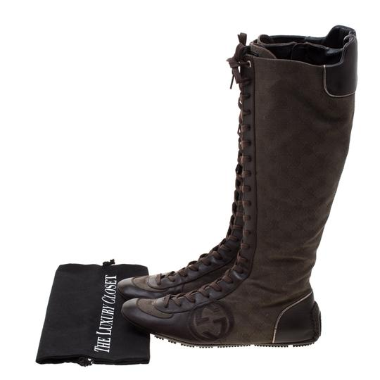Gucci Leather Canvas Brown Boots Image 7