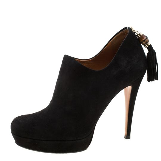 Gucci Suede Bamboo Platform Black Boots Image 1