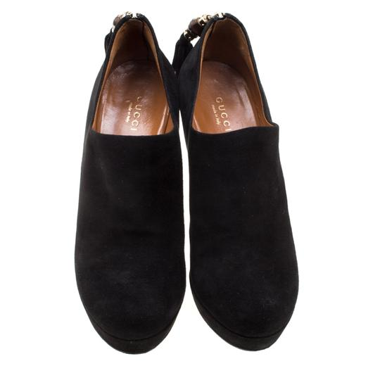 Gucci Suede Bamboo Platform Black Boots Image 2