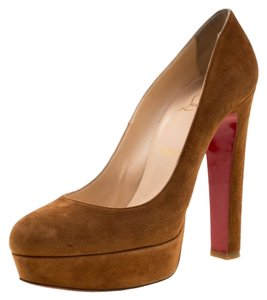 Christian Louboutin Suede Platform Brown Pumps