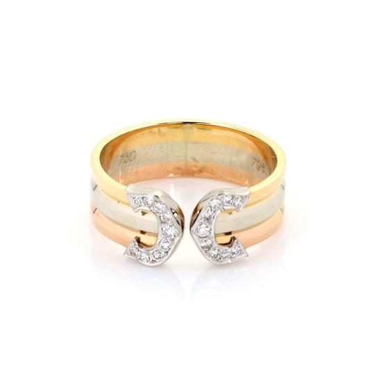 Preload https://img-static.tradesy.com/item/25963205/cartier-23239-double-c-diamond-18k-tricolor-gold-cuff-band-size-49-certificate-ring-0-0-540-540.jpg