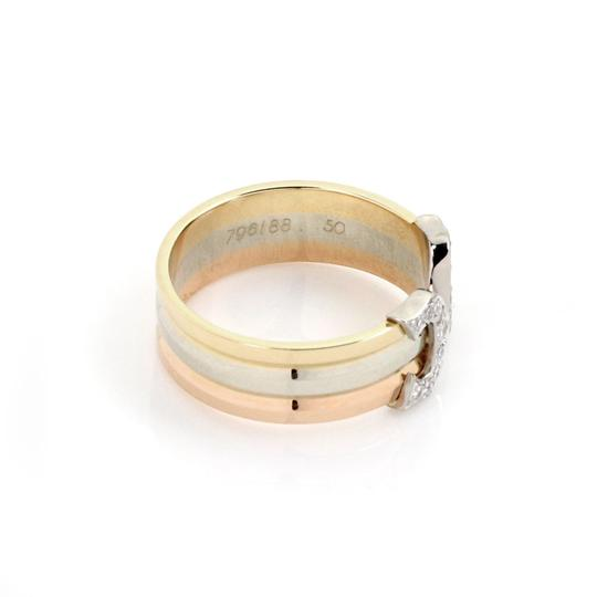 Cartier Double C Diamond 18k Tricolor Gold Cuff Band Ring Size 49 Certificate Image 1
