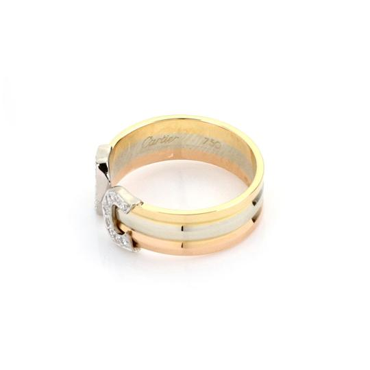 Cartier Double C Diamond 18k Tricolor Gold Cuff Band Ring Size 49 Certificate Image 2