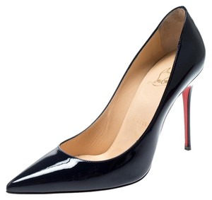 Christian Louboutin Patent Leather Pointed Toe Navy Blue Pumps