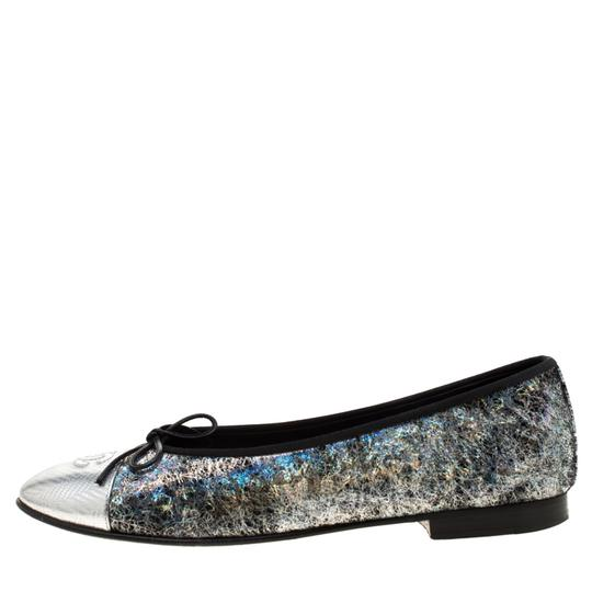 Chanel Silver Textured Suede Metallic Flats Image 1