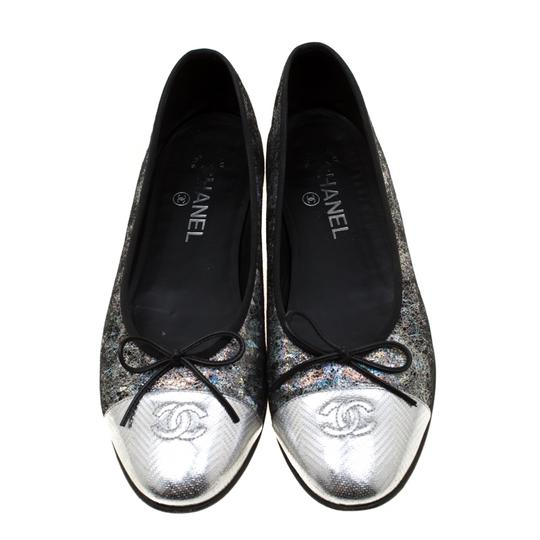 Chanel Silver Textured Suede Metallic Flats Image 2