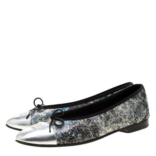 Chanel Silver Textured Suede Metallic Flats Image 3
