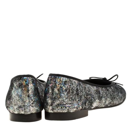 Chanel Silver Textured Suede Metallic Flats Image 4
