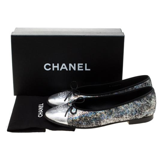 Chanel Silver Textured Suede Metallic Flats Image 7