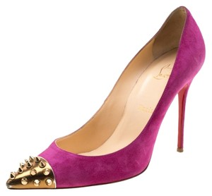 Christian Louboutin Suede Studded Leather Pink Pumps