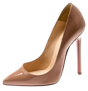 Christian Louboutin Patent Leather Pigalle Beige Pumps
