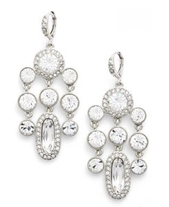 Givenchy Silver Drama Crystal Chandelier Earrings