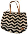 TOMS Tote in black chevron with brown leather handles