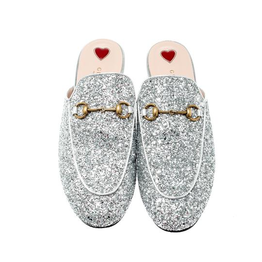 Gucci Glitter Leather Silver Flats Image 1