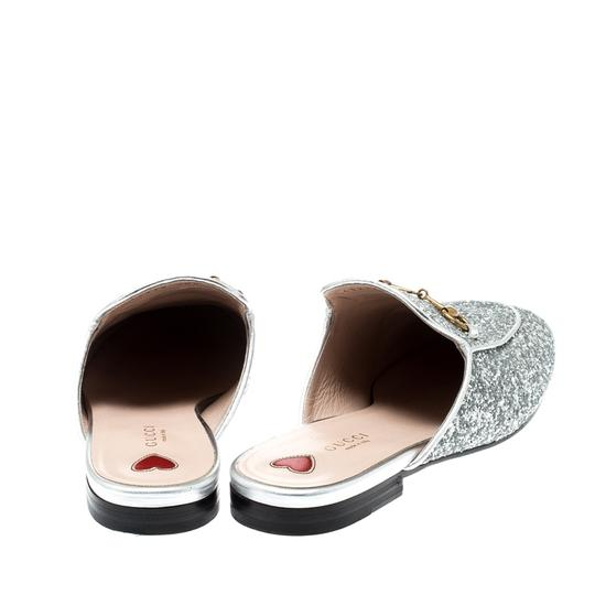 Gucci Glitter Leather Silver Flats Image 2