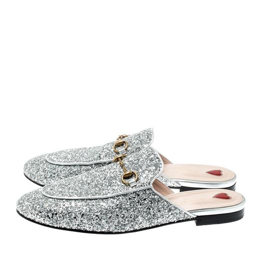 Gucci Glitter Leather Silver Flats Image 3