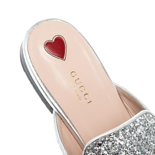 Gucci Glitter Leather Silver Flats Image 4