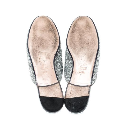 Gucci Glitter Leather Silver Flats Image 5