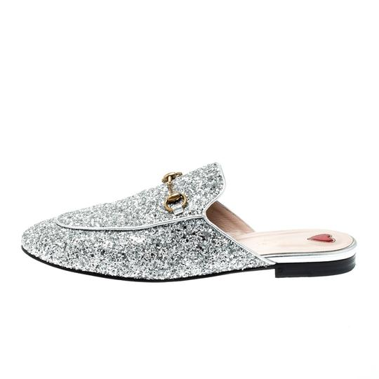Gucci Glitter Leather Silver Flats Image 6