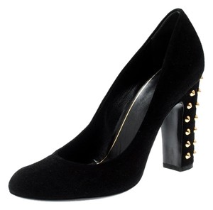 Gucci Suede Studded Leather Black Pumps