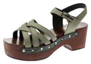 Chanel Canvas Ankle Strap Platform Green Sandals