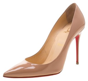 Christian Louboutin Patent Leather Pointed Toe Beige Pumps