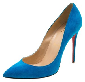 Christian Louboutin Suede Pointed Toe Blue Pumps