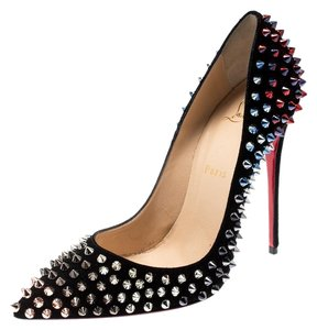 Christian Louboutin Suede Pointed Toe Black Pumps
