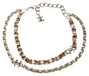Chanel Chanel CC Turnlock Metallic Leather Gold Tone Double Chain Necklace
