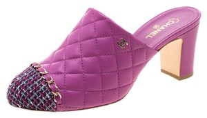 Chanel Quilted Leather Tweed Purple Sandals