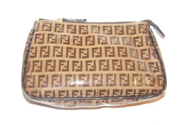 Item - Brown/Tan Zucchino Print Pouch/Cosmetic Bag/Wallet Cosmetic Bag