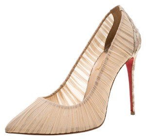 Christian Louboutin Pleated Silk Crepe Pointed Toe Beige Pumps